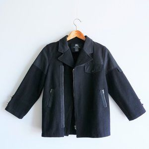 Authentic Burberry Navy Blue Wool Jacket For Boys
